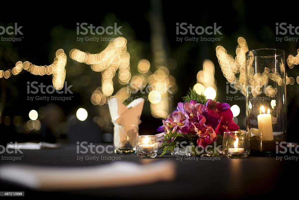 Table setting for an wedding reception or an event stock photo