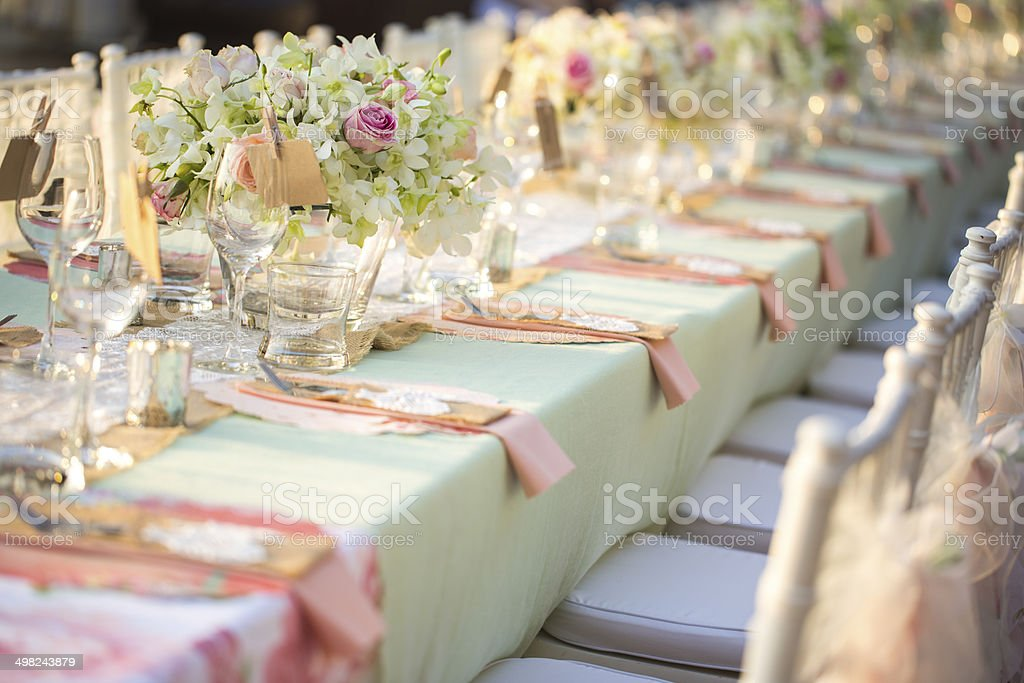 Table setting for an wedding reception stock photo
