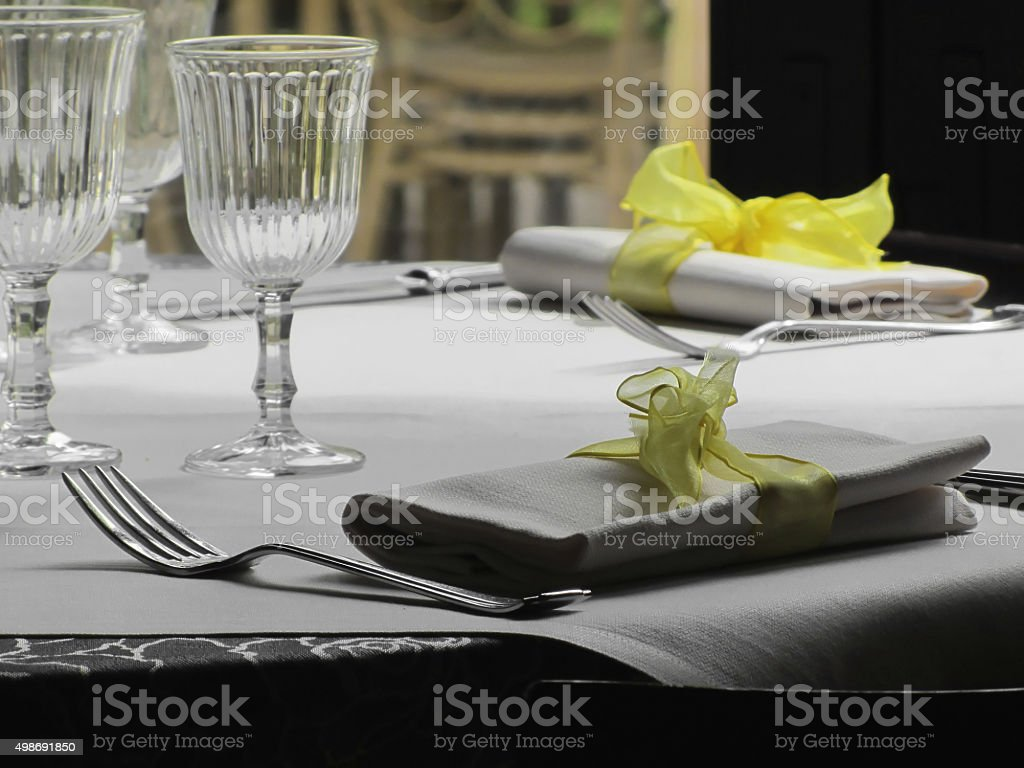 Table setting for Christmas or other event stock photo