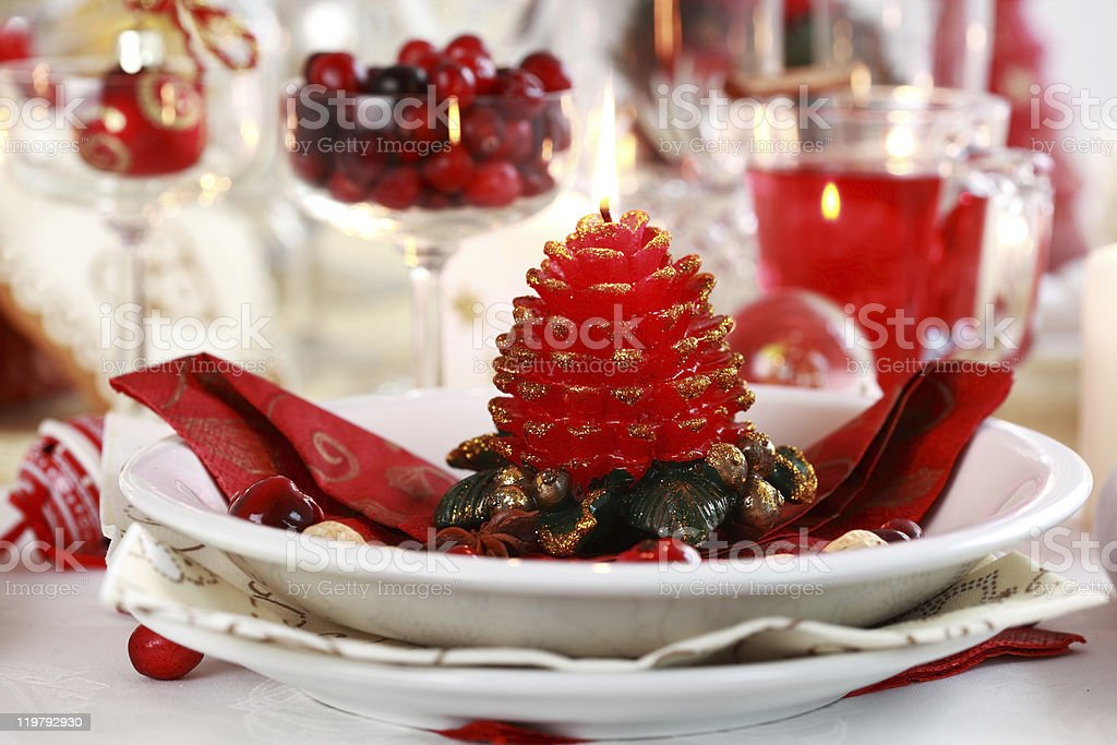Table setting for Christmas royalty-free stock photo
