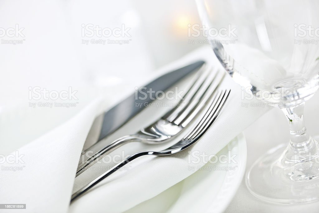 Table setting for fine dining stock photo