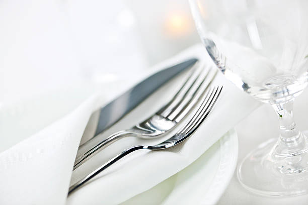 table setting for fine dining - silverware stock pictures, royalty-free photos & images