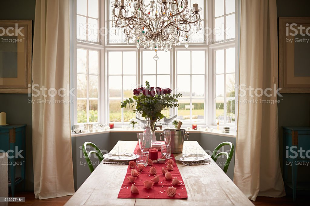 Table Setting For Romantic Valentines Day Meal stock photo