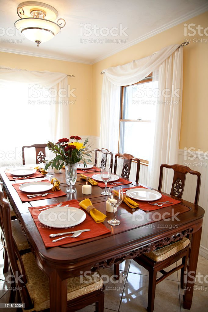 Table setting for Thanksgiving dinner royalty-free stock photo