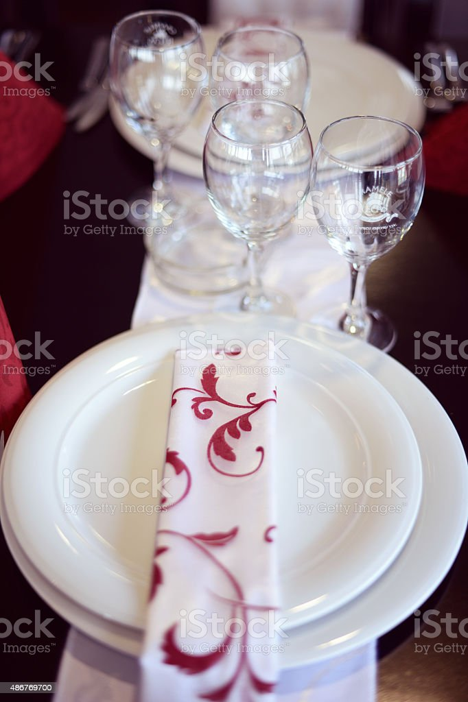 Table Setting In A Restaurant   Stock Image .