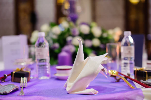 Table setting in wedding banquet Image of Table setting in wedding banquet. chinese wedding dinner stock pictures, royalty-free photos & images
