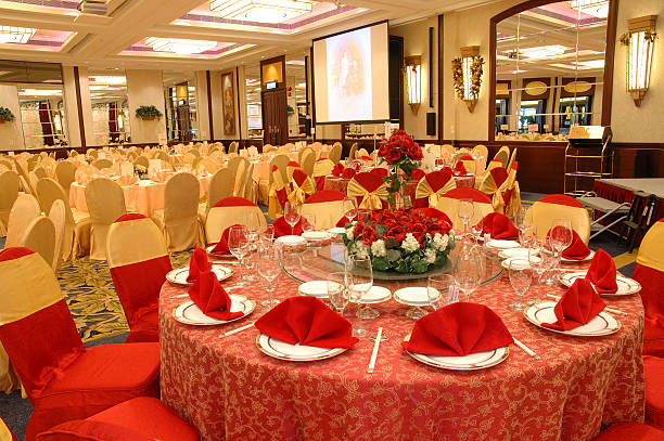 Table setting in wedding banquet  chinese wedding dinner stock pictures, royalty-free photos & images