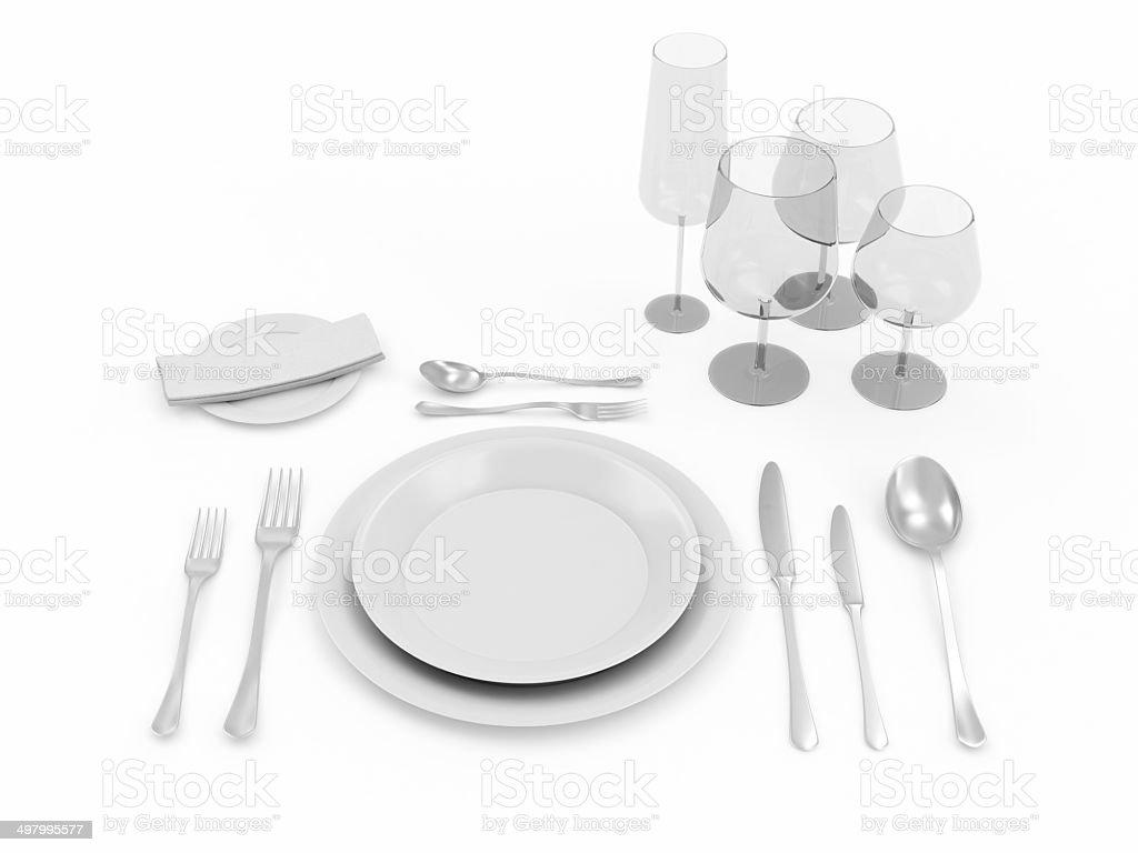 Table setting isolated on white background royalty-free stock photo