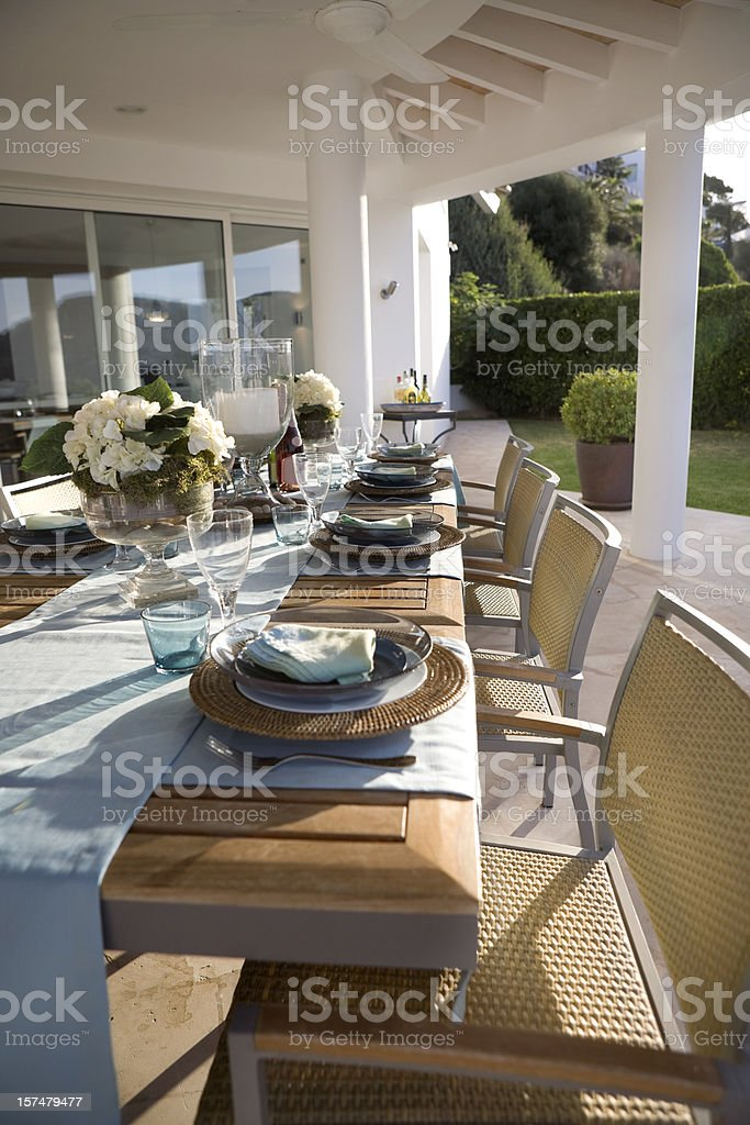 Table Setting - Luxury Outdoor Catering royalty-free stock photo