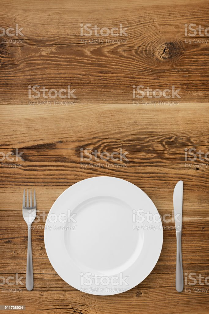 Table Setting on Wood stock photo