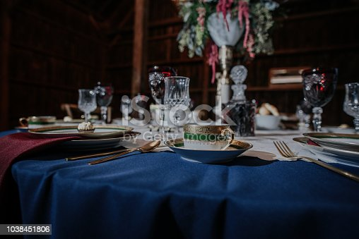 Wedding dinner with crystal dinnerware and fine china