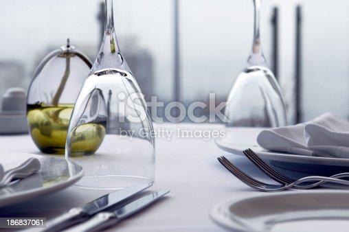 table setting detail on restaurant