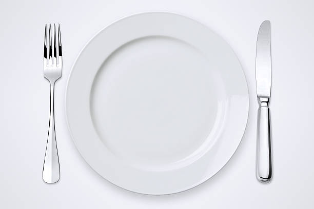 table setting with clipping paths - table knife stock photos and pictures