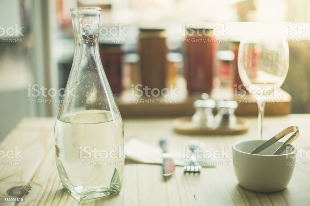 Table setting with glasses and water stock photo