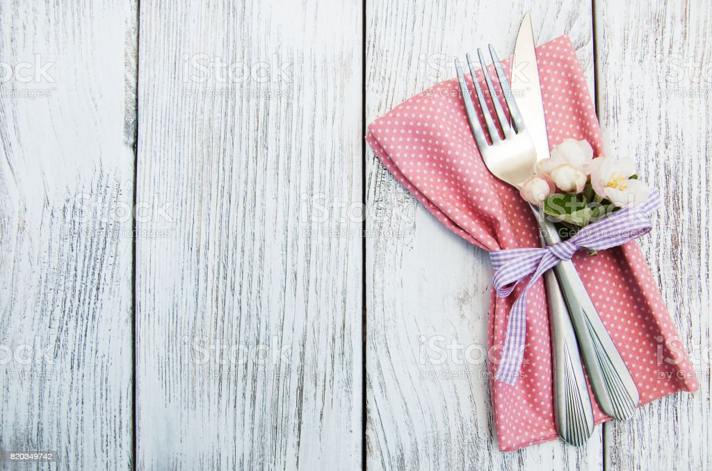 table setting with spring blossom stock photo