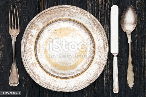 Silverware and empty plate