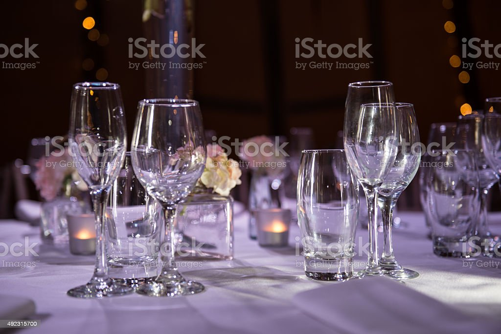 Table setting with Wine Glasses at an Event stock photo