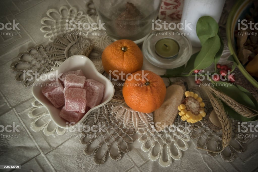 Table setup for Orthodox Christmas Eve stock photo