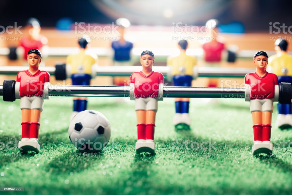 table soccer football game stock photo