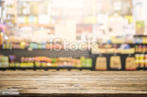 istock Table space platform and blurred bakery shop or coffee cafe background. 677423698