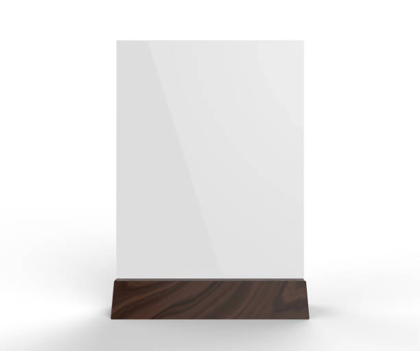 table talkers promotional upright menu table tent top sign holder table menu card display stand picture frame for mock up and template design. 3d render illustration. - vinyl banner mockup stock photos and pictures