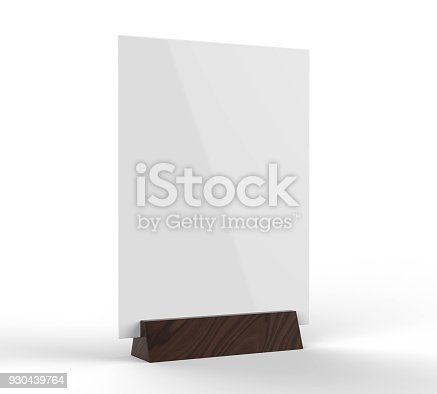 527567107istockphoto Table talkers promotional upright menu table tent top sign holder table menu card display stand picture frame for mock up and template design. 3d render illustration. 930439764