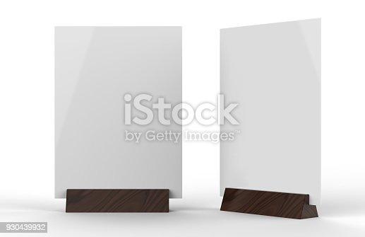 527567107istockphoto Table talkers promotional upright menu table tent top sign holder table menu card display stand picture frame for mock up and template design. 3d render illustration. 930439932