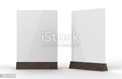 527567107istockphoto Table talkers promotional upright menu table tent top sign holder table menu card display stand picture frame for mock up and template design. 3d render illustration. 930440008