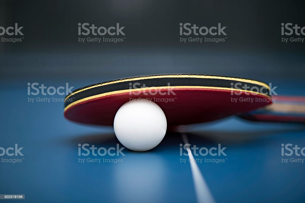 Table Tennis Ball and Bat stock photo