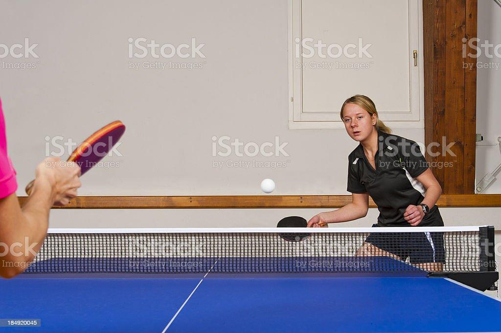 Table tennis match stock photo