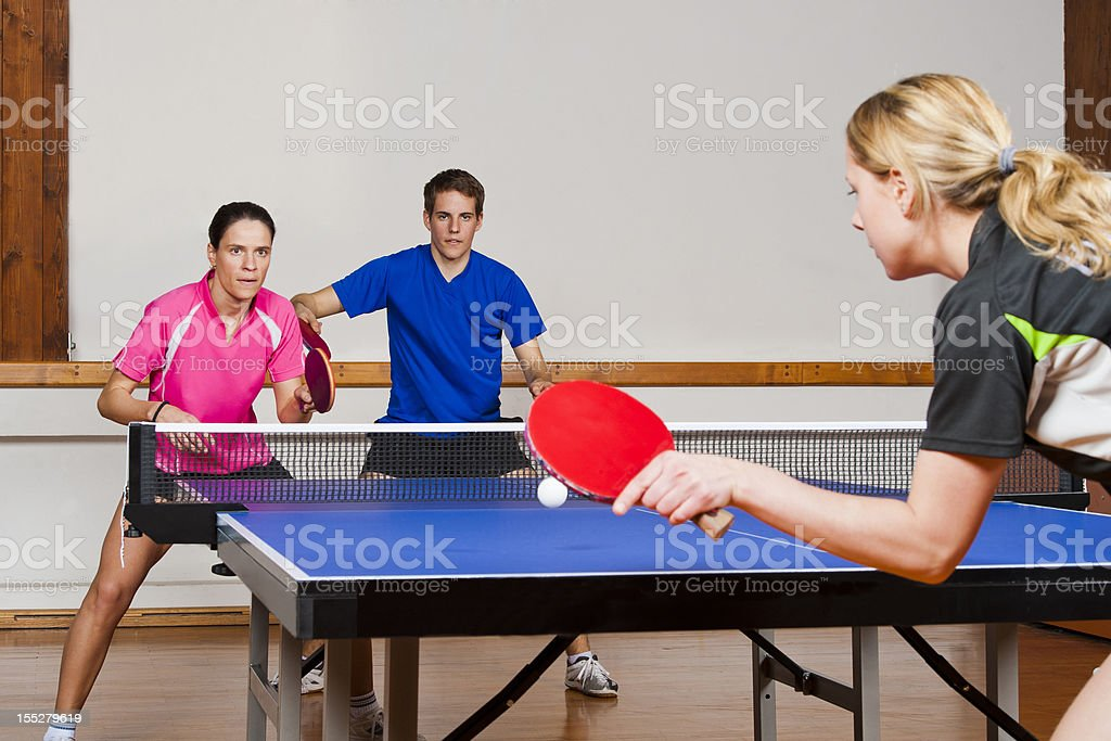 Table tennis mixed doubles match stock photo