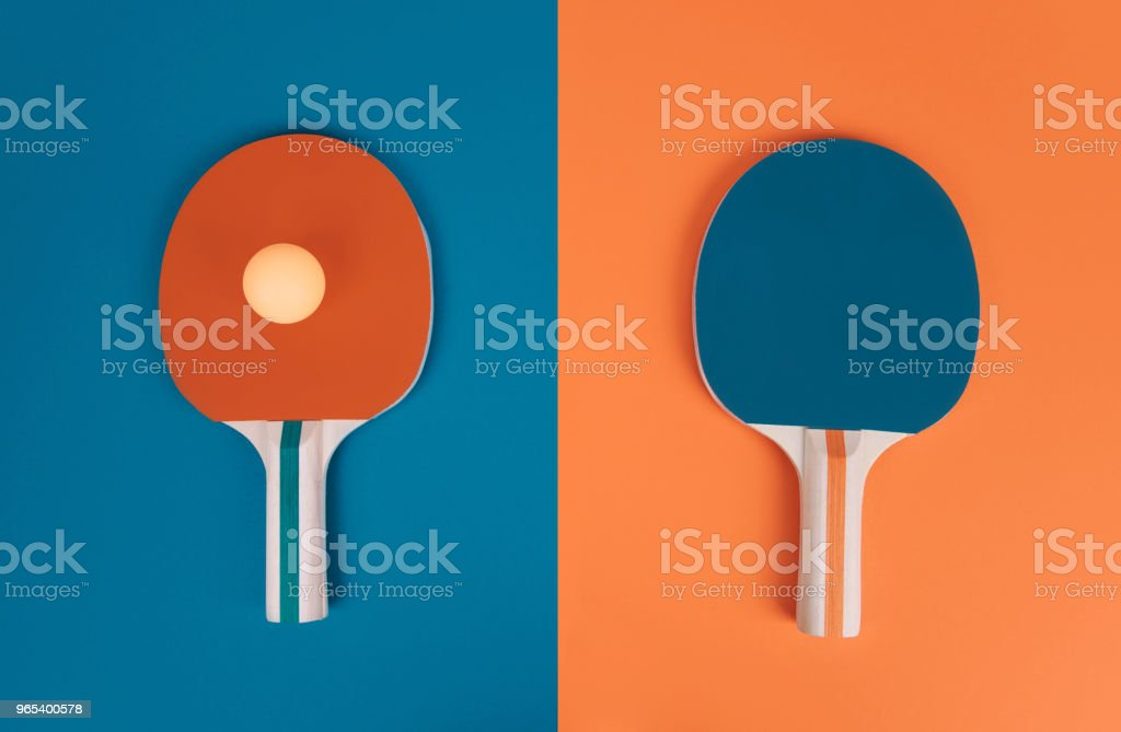 Table tennis or ping pong rackets and ball zbiór zdjęć royalty-free