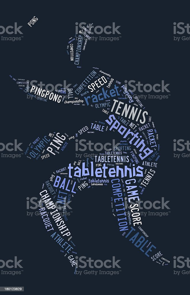 Table tennis pictogram with blue words royalty-free stock photo