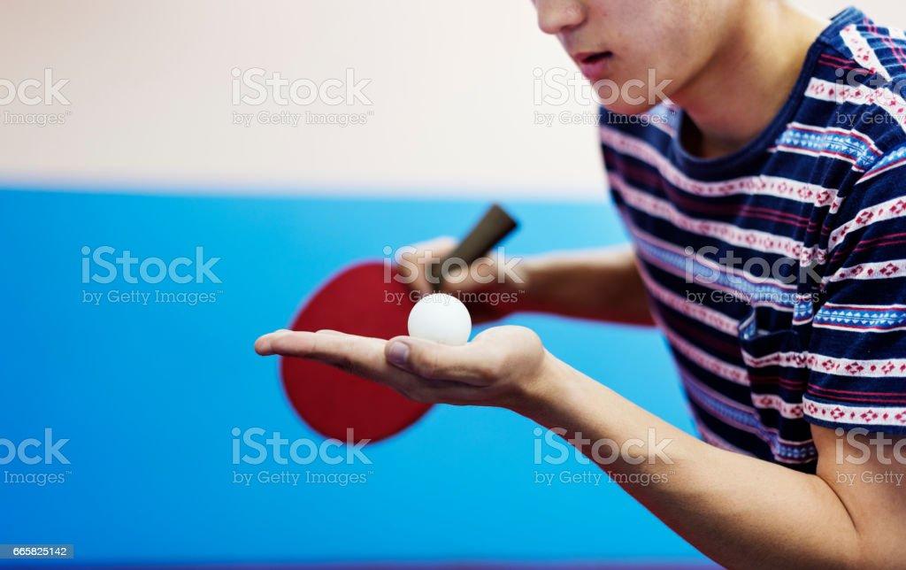 Tischtennis-Tischtennis-Sport-Aktivität-Konzept - Lizenzfrei Amateur Stock-Foto