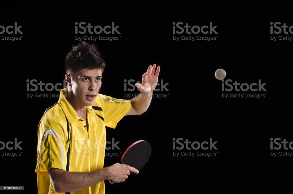 Table tennis player man in action royalty-free stock photo