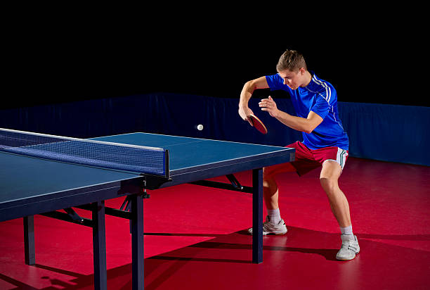 table tennis player (isolated ver) - table tennis stock pictures, royalty-free photos & images