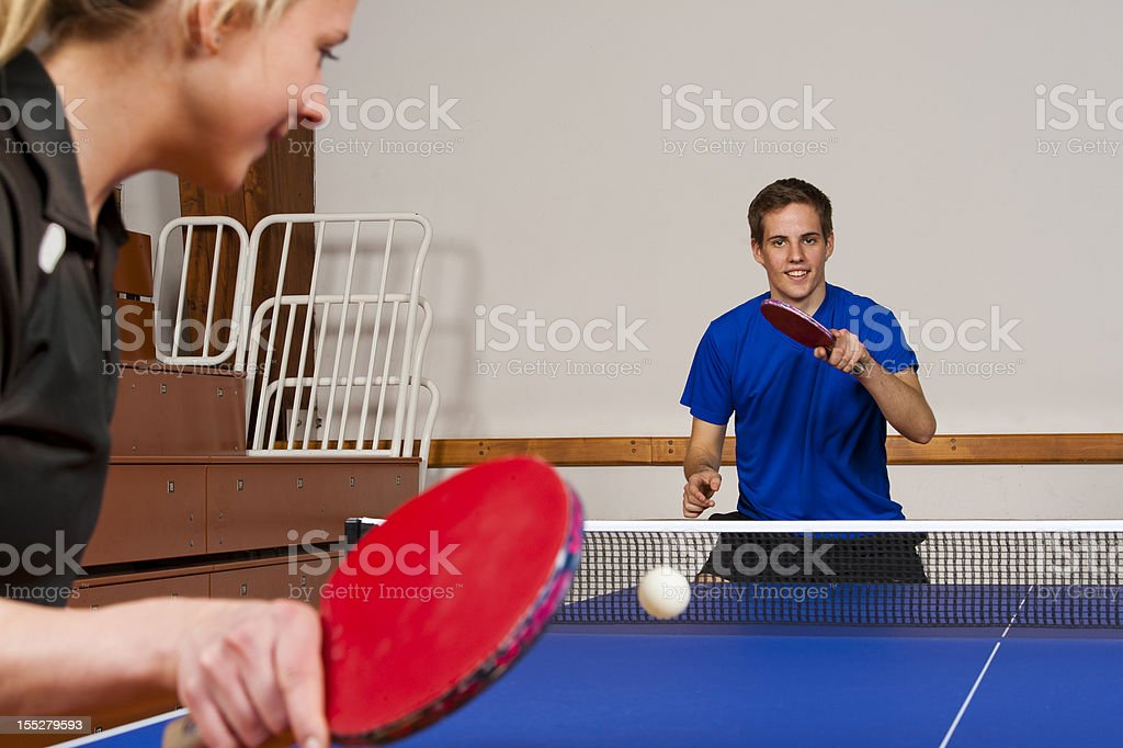 Table tennis practicing stock photo