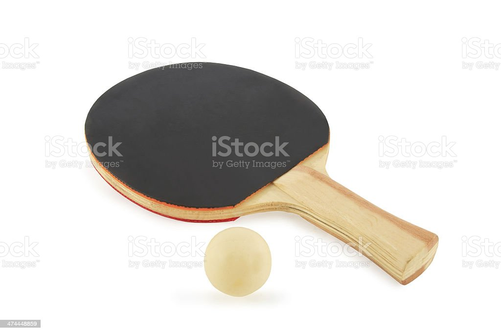Table tennis racket and ball on a white background royalty-free stock photo