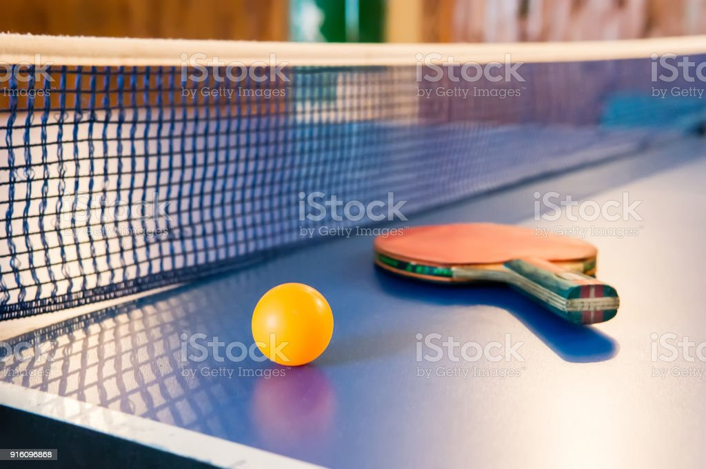 Table tennis - racket, ball, table stock photo