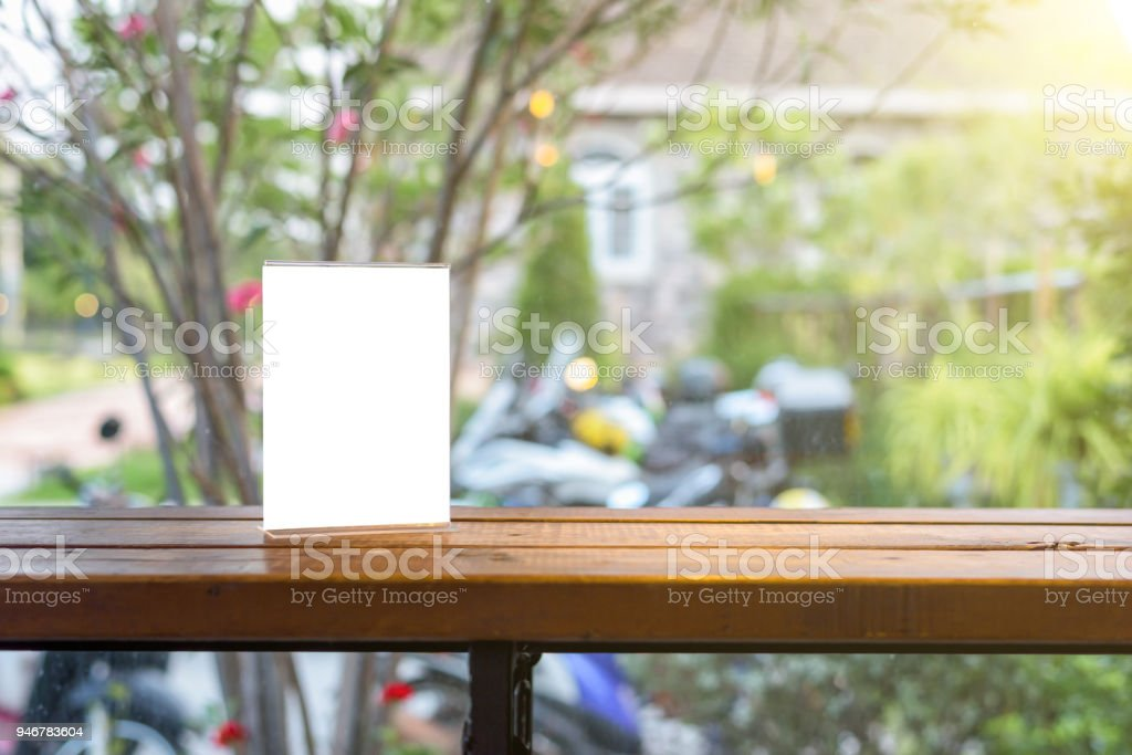 Table Tent On Wooden Table Stock Photo More Pictures Of Blank IStock - Wooden table tents