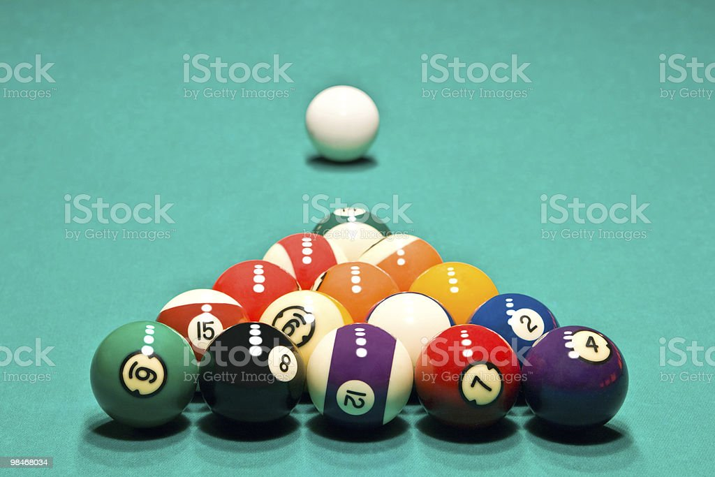Table to start game in billiards with the prepared spheres royalty-free stock photo