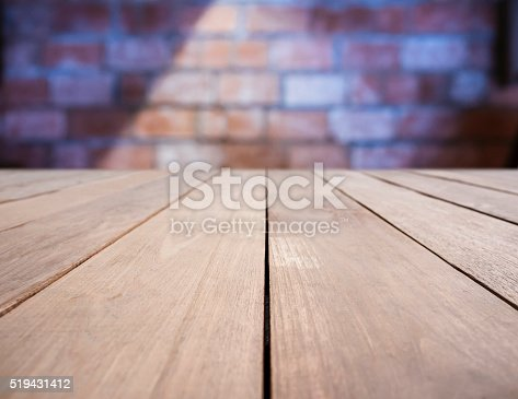 istock Table top Bar Brick wall with lighting on background 519431412