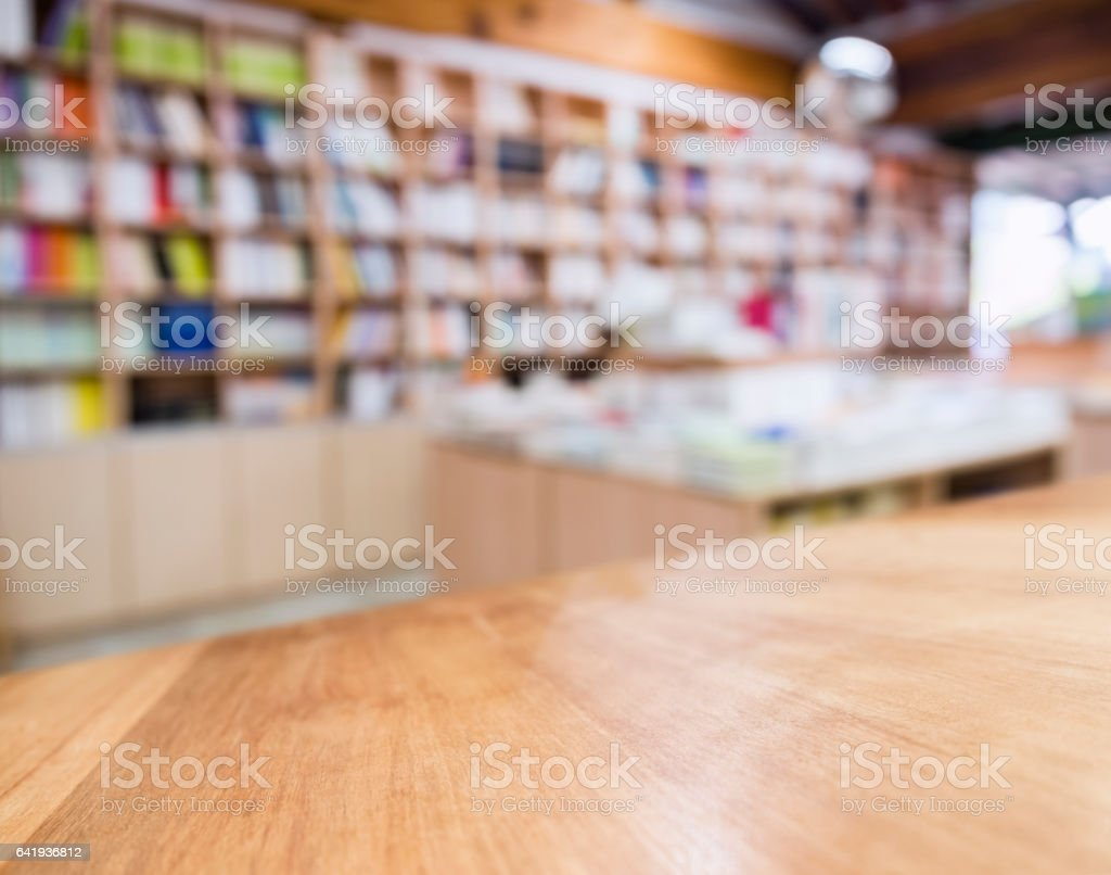 Table top Blur Bookshelf Bookstore background stock photo
