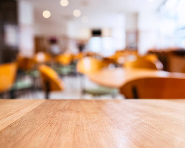 Table top counter and Seats Blurred People Restaurant Shop Cafe stock photo
