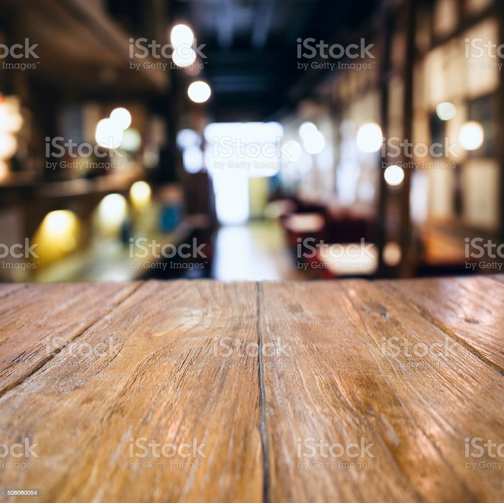 Table top counter Bar Blurred Cafe Restaurant Background stock photo