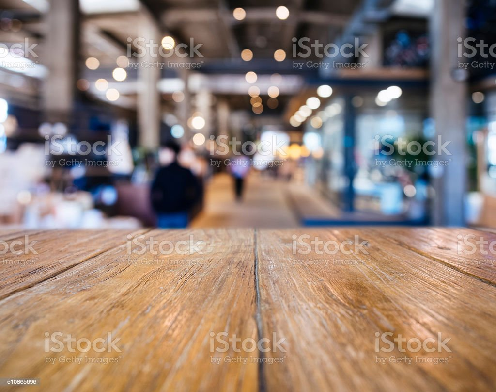 Table top counter Bar Blurred Restaurant Shop background stock photo