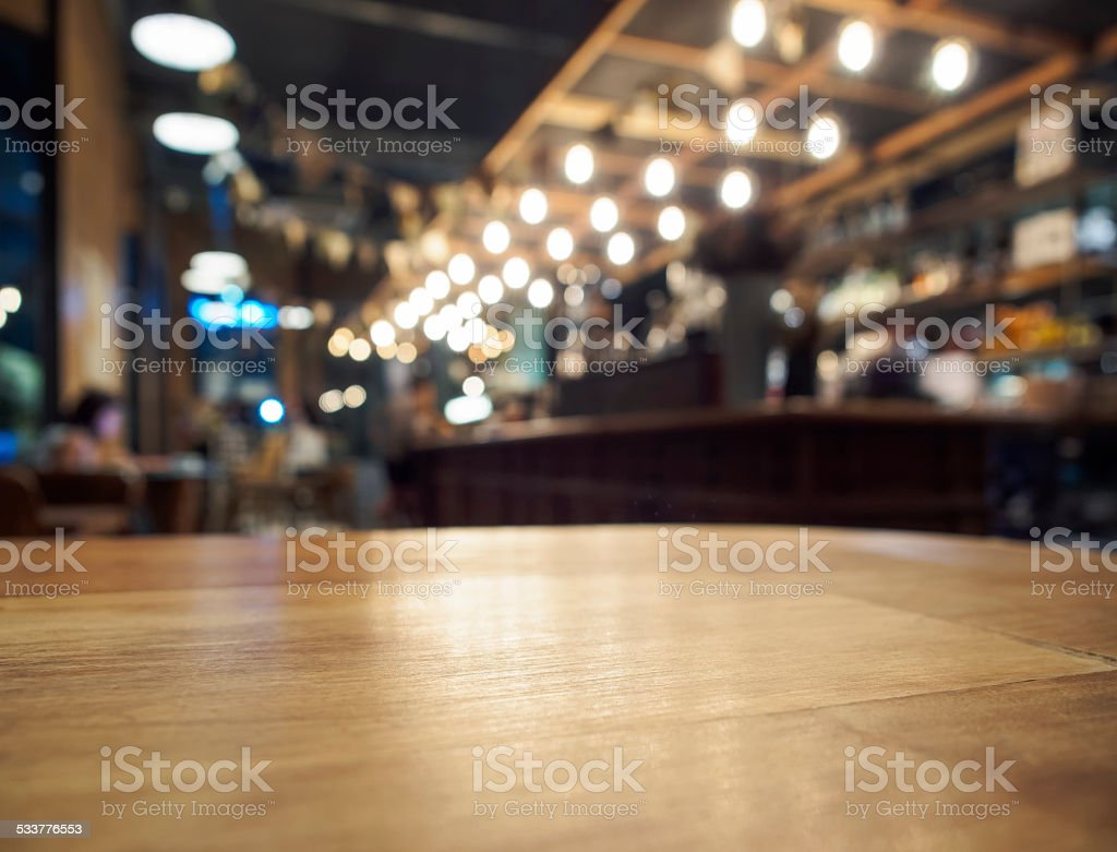 Table top counter Bar restaurant background blurred