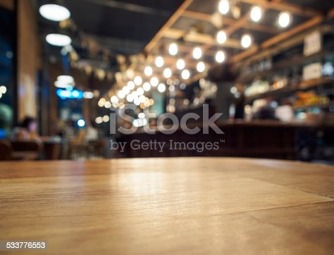 Table top counter Bar Restaurant Interior background blurred