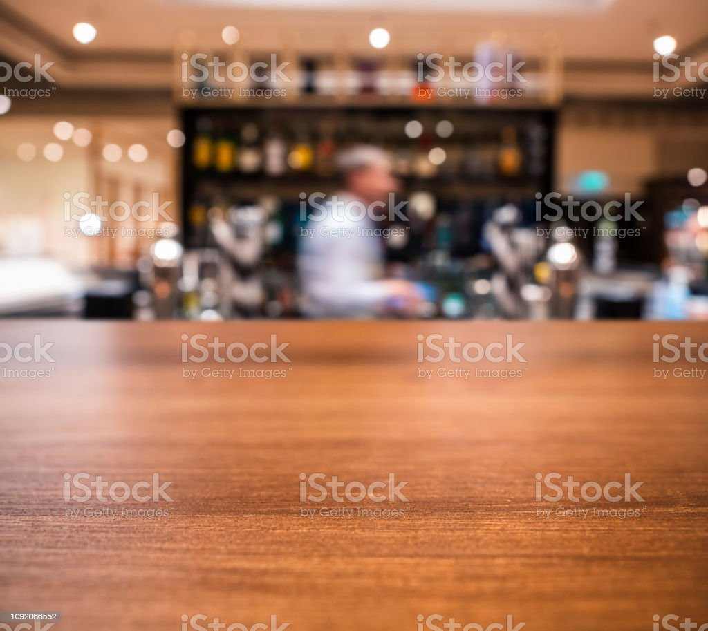 Table Top Counter Blur Bar With People Restaurant Background Stock Photo Download Image Now Istock