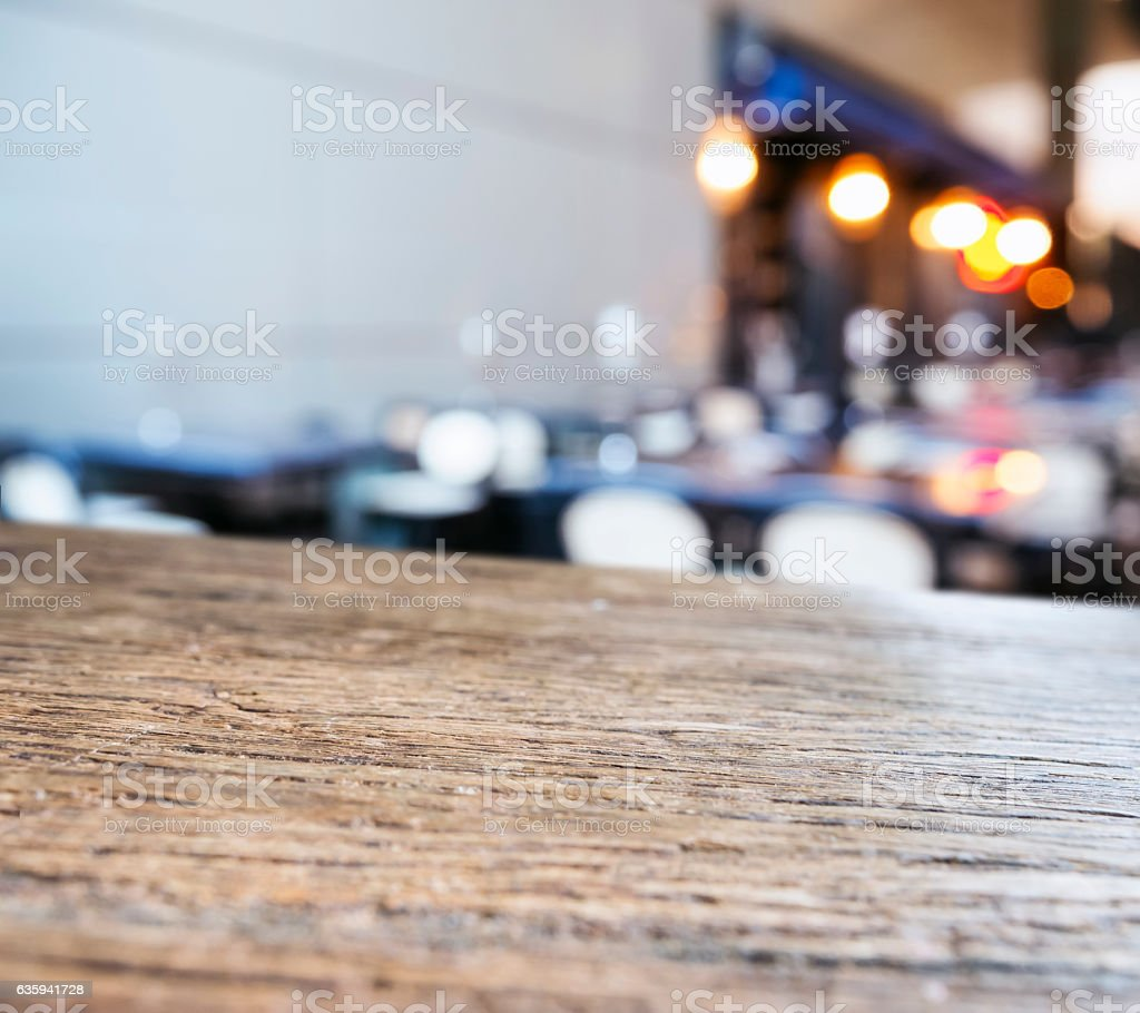 Table top counter Blurred seats Bar Restaurant background stock photo